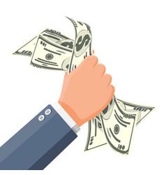 businessman squeeze cash in fist money in hand vector image