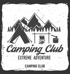 Camping club badge concept vector