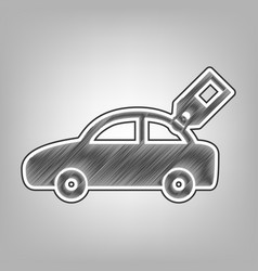 Car sign with tag pencil sketch imitation vector