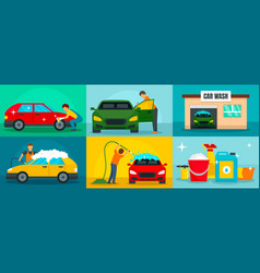 Car wash cleaning banner set flat style vector