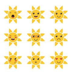 cartoon cute sun character emoji vector image