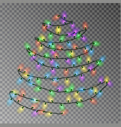 christmas color tree of lights string hanging on w vector image