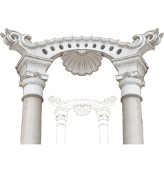 Classic arch and columns sketch vector