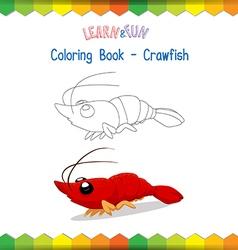Crawfish coloring book educational game vector