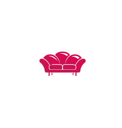 creative furniture red sofa logo vector image