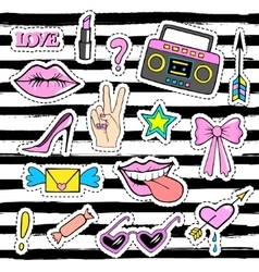 Cute fashion patch badges with lips handtape vector