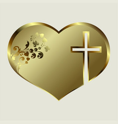 design silhouette of the heart with a golden hue vector image