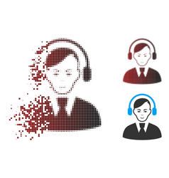 Dissolved pixel halftone call center operator icon vector