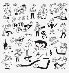 drug addict people doodles vector image