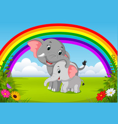 elephant and baby elephant at jungle with rainbow vector image