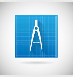 Engineering Planning Symbol Blueprint and Compass vector