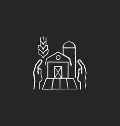 Farmers support chalk white icon on dark vector