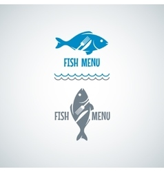 Fish Food Logo Fork And Knife Background vector image