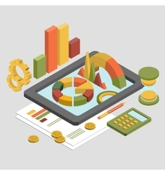 Flat 3d Isometric Business Chart Graphic vector