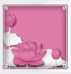 floral pink oriental frame with lotus flower vector image
