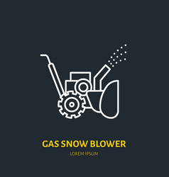 Gas snow blower flat line icon sign of vector