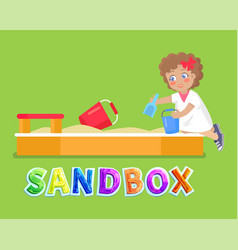 Girl playing in sandbox with toys icon vector