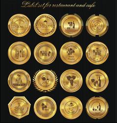 golden medal label set for restaurant and cafe vector image