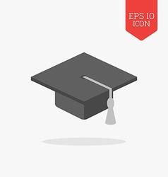 Graduation cap icon Flat design gray color symbol vector image