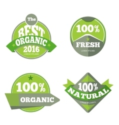 Green organic natural labels set vector image