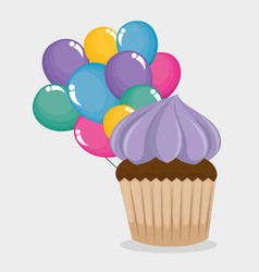happy birthday card with cupcake and balloons air vector image