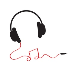 Headphones red cord in shape of note Flat vector image
