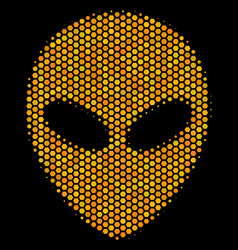 Hexagon halftone alien face icon vector
