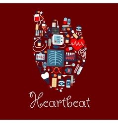 Human heart made of medical equipments icons vector image