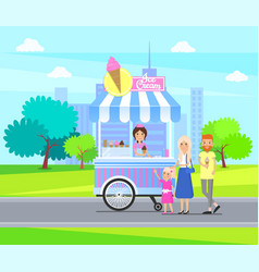 Ice-cream stall street in city vector