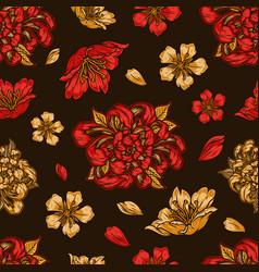 japanese floral vintage seamless pattern vector image