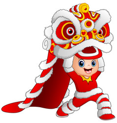 Kid playing chinese dragon dance vector