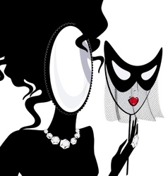 Lady-mirror with half-mask vector