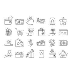 large set black an white line drawn bonus icons vector image