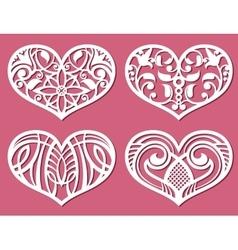 Laser printing romantic lacy wedding hearts vector