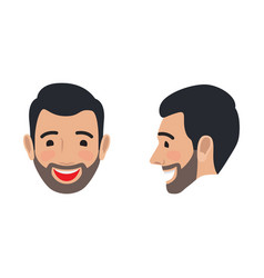 Laughing man face from two sides flat icon vector