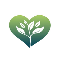 logo green heart silhouette and sprout ecology vector image