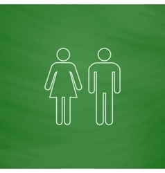 man and woman computer symbol vector image