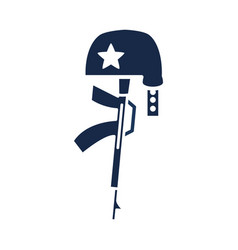 memorial day gun military and helmet american vector image