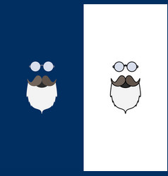 Moustache hipster movember beared men flat color vector