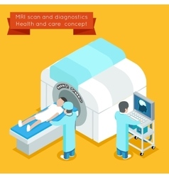 MRI process 3d isometric health and care vector image