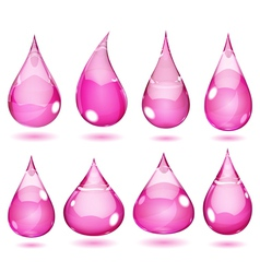 Opaque drops in saturated pink colors vector