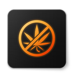orange glowing neon stop marijuana or cannabis vector image