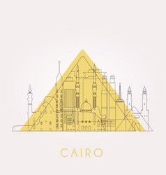outline cairo skyline with landmarks vector image