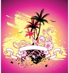 palms ribbon vector image