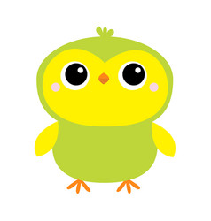 parrot bird toy icon big eyes green yellow color vector image