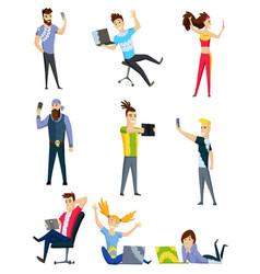 people communication via internet social vector image