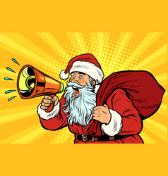 pop art santa claus with megaphone vector image
