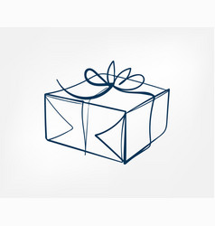 present box one line isolated design element vector image