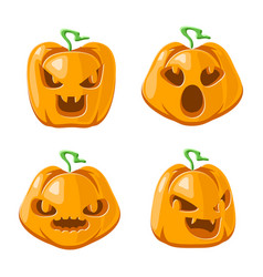 pumpkin cartoon jack o lantern halloween vector image
