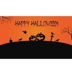 Pumpkins and crow Halloween backgrounds vector